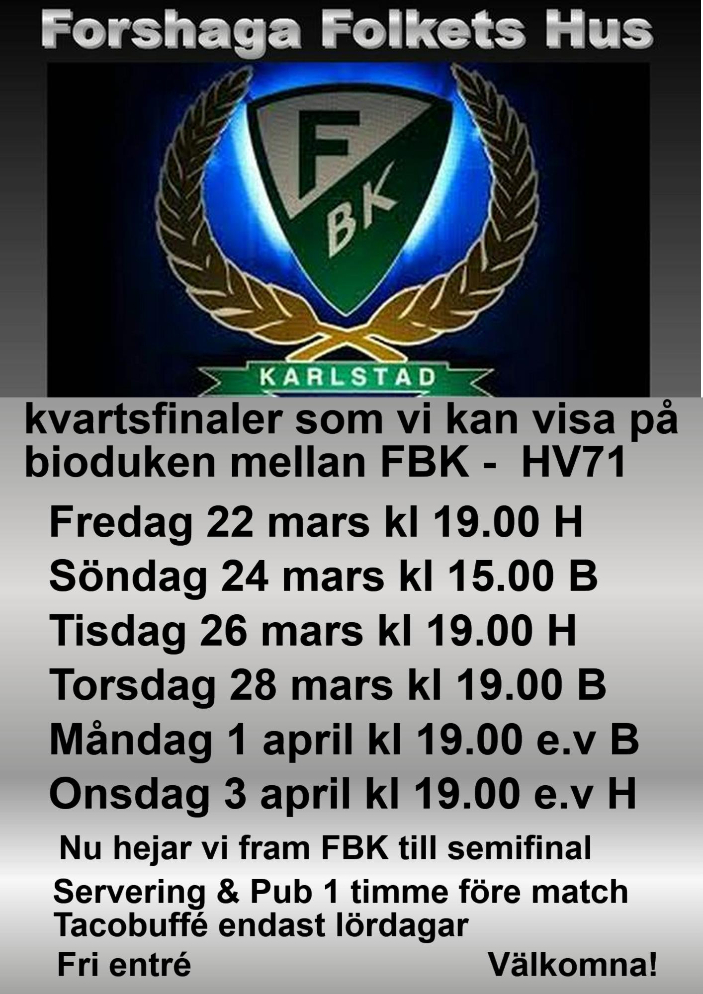 FBKs kvartsfinaler på bioduken